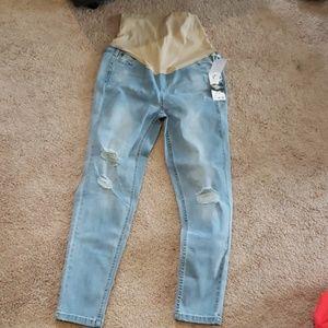 NWT liz Lange light wash ripped maternity jeans